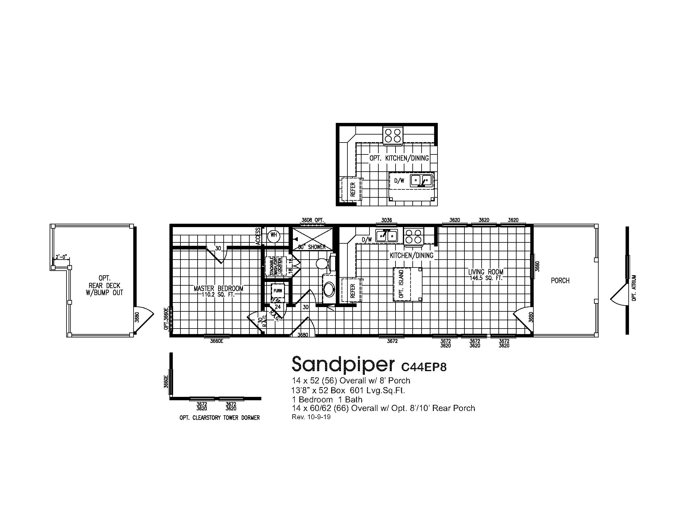 Smart Cottage Sandpiper C44EP8 Floorplan
